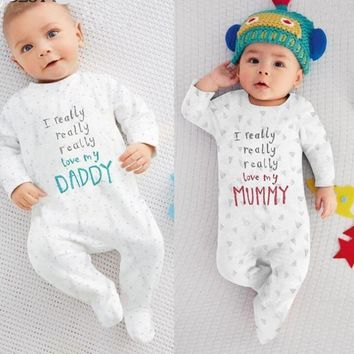 I Really Really Love My Daddy Mummy Infant Baby Overall Jumpsuit