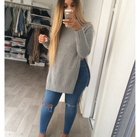 Grey  Split Side Ribbed Sweatshirt