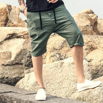 Men Summer Cargo Shorts Bermuda Homme solid casual men Mens Short Pants Jogger men Clothing Beach drop crotch Boardshorts