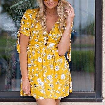 Light It Up Button Down V Neck Dress : Yellow