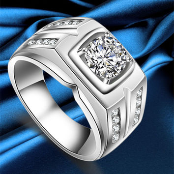 925 Sterling Silver male ring wedding Rings with large Cubic Zircon men engagement ring fashion jewelry bague homme