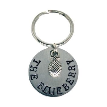 Psych The Blueberry Hand Stamped Aluminum Keychain Pineapple Charm