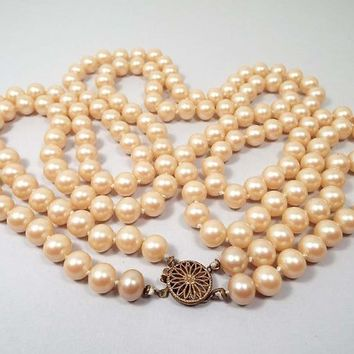 29 Inch 29in Long Double Strand Vintage Faux Pearl Necklace, Hand Knotted, Filigree Vermeil Box Clasp, Mid Century 1940s 40s