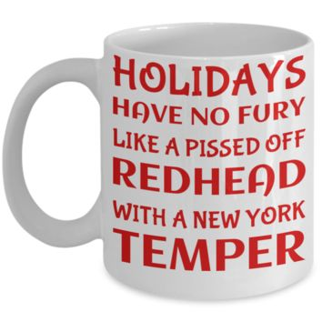 Holiday Christmas Mug Gift For Redhead New York Girls - Xmas Inspiration Gift For Her, Mom, Grandma, Sister, Girlfriend - 11oz White Ceramic Cup for Cocoa, Coffee, Tea, Cookies & Ginger Bread