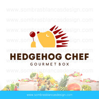 OOAK Premade Logo Design - Hedgehog Chef - Perfect for a food subscription box or a recipe blog