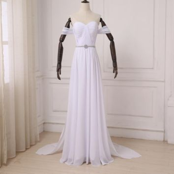 New Arrival Chiffon Beach Wedding Dresses Elegant Off-the-Shoulder Beaded White Dress Bohemian Bridal Gowns