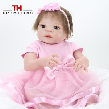 NPKDOLL 55 cm Bebe Doll Reborn Full Silicone Girl Babies Brown Eyes Child Birthday Gift Realistic Adorable Born Dolls Toys