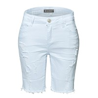LE3NO Womens White High Rise Destroyed Cut Off Denim Bermuda Shorts with Pockets (CLEARANCE)