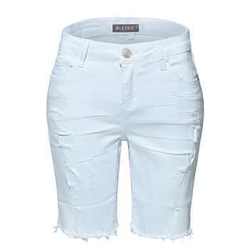 LE3NO Womens White High Rise Destroyed Cut Off Denim Bermuda Shorts with Pockets