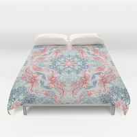 Vintage Fancy - a Pattern in Pale Blue, Navy & Deep Rose Duvet Cover by Micklyn