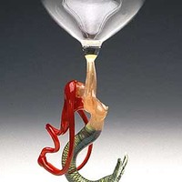 Mermaid Ascending Redhead Goblet by Milon Townsend: Art Glass Goblet | Artful Home