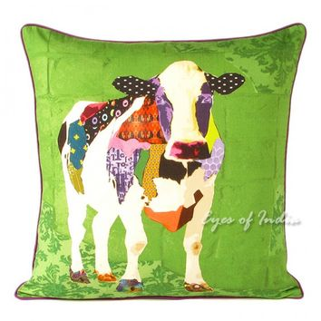 "18"" Colorful Cow Digital Print Cotton Pillow Cushion Cover"