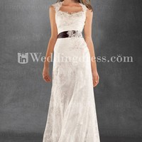 Vintage-Inspired Keyhole Back Tulle Lace Satin Wedding Gown