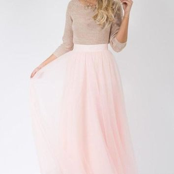 Magic in Manhattan Tulle Maxi Skirt - Blush