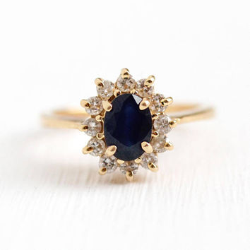 Estate Sapphire Ring - 14k Yellow Gold Genuine Dark Blue Gem & Diamond Halo Alternative Engagement - Size 5 3/4 September Birthstone Jewelry