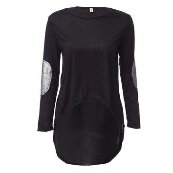 Sweet Round Collar Long Sleeve Lace Spliced Color Block Asymmetrical T-Shirt for Ladies