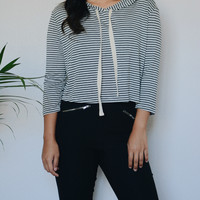 Whitney Striped Cropped Hoodie (Grey)