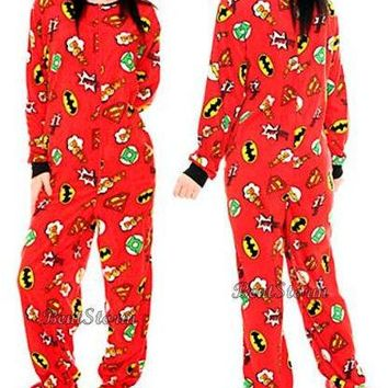 Licensed cool NEW DC  Super Powers Heroes Micro Polar Footed Feet Pajamas Costume PJS