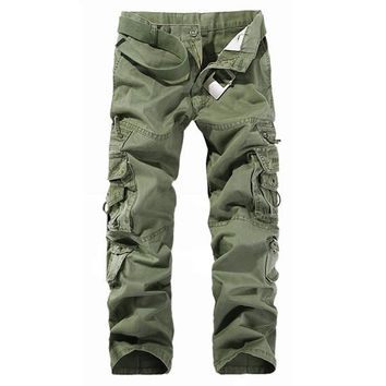 Men's Outdoor Multi-pockets Pants Cotton Casual Cargo Pants