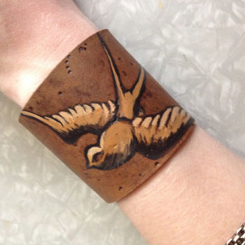 Sparrow Leather cuff Hand Painted Bracelet