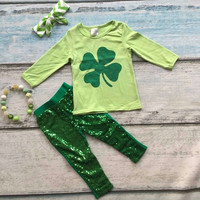 2016 baby clothing St.Martin's day theme green outfit girls Spring suit sequins cotton pants boutique with matching accessories