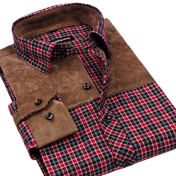 Autumn Winter Men Casual Shirt Patchwork Thick Warm Flannel Fashion Brand Long Sleeve Men Plaid Shirt High Quality