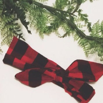 knotted headband, plaid knotted headband, red knotted headband, baby girl, baby hipster, knotted headband with bow