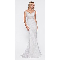 Fitted Bridal Gown With 3D Floral Appliques And Corset Structured Bodice