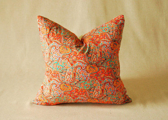 vintage pillow cover orange and turquoise from foreverlovelydesig. Black Bedroom Furniture Sets. Home Design Ideas