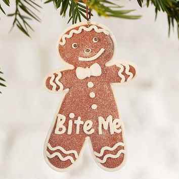Bite Me Gingerbread Cookie Ornament - Urban Outfitters