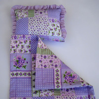 """Waldorf toy, Doll Bedding,  Handmade Doll Blanket and Pillow Set for 12""""-16"""" dolls, Lilac"""