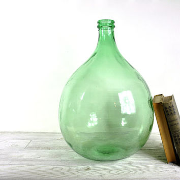 Vintage Large Glass Demijohn Carboy Bottle / Green Glass Bottle