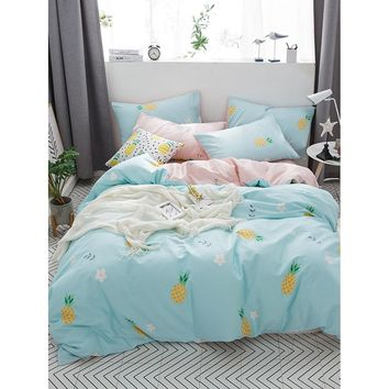 Pineapple & Flower Print Sheet Set