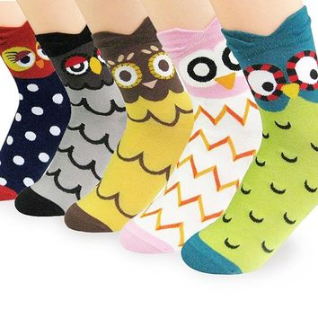 V28® Women's Cute Socks with Owls Pandas Tigers Foxes Various Pattern Mixed Colors