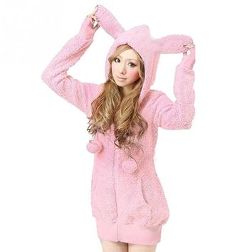 2018 Winter Coat Clothes Women Casual kawaii Plush Cartoon Cubs Rabbit Ear Plush Fluffy Thicken Jacket Hoodies Outwear Coat