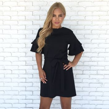 Rosita Bell Sleeve Shift Dress In Black