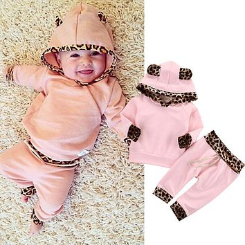 Cute Pink Baby Girls Clothes Newborn Infant Bebek Hooded Sweatshirt Tops+Pants Leopard 2pcs Outfits Tracksuit Kids Clothing Set