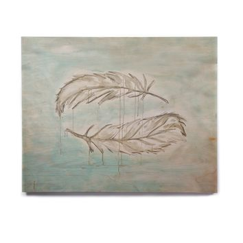 "Jennifer Rizzo ""Feathers From Above"" Blue Gray Painting Birchwood Wall Art"