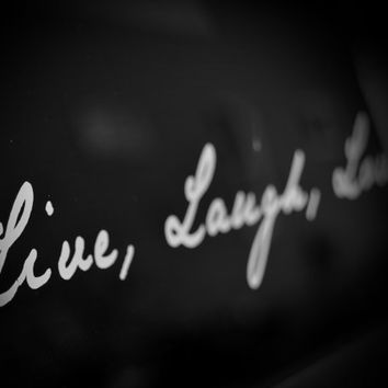 Live, Laugh, Love photography black and white typography large photo poster wall art home decor teenage girl bedroom nursery