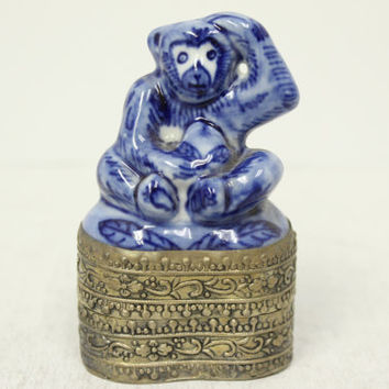 Vintage Cute Blue and White Porcelain Monkey Figurine Silver Plated Trinket Box