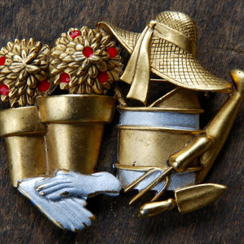 Vintage DANECRAFT Brooch Gardening Hat Flowers Watering Can Garden Tools Gold Tone Gift For Her 1980's // Vintage Designer Costume Jewelry