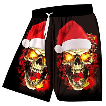 Christmas Hat And Flame Skull 3D Printed Large Size 6XL Men's Beach Shorts