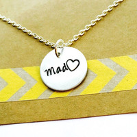 Friends Necklace Hand Stamped Mad Love Necklace, Mad Love ,Necklace, Best Friends, Sisters