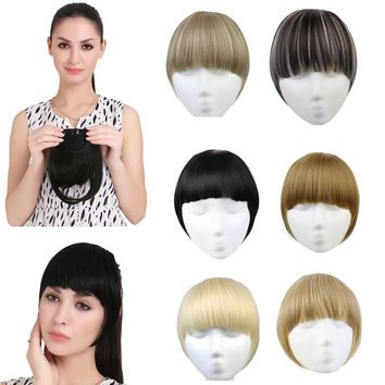 1PC Cute Clip In Neat Front Hair Bang Extension Heat Resistant Fringe Natural Fringes Hairpieces B3 ( 11 Colors)