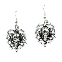 Thorn Vine Skull Red Eye Earrings