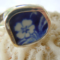 Broken China Ring Chaney Ring  Sterling Silver Ring Blue Flower Ring  Any Size 100% Handcrafted