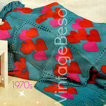 Crochet PATTERN Vintage - Hearts Aplenty Afghan - worked in Afghan Stitch - Vintage Crochet Pattern - Vintage Beso Instant Download PDF