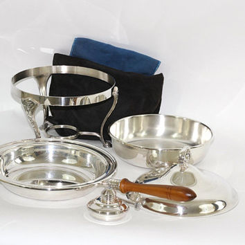 Silverplate Chafing Dish Set 6 Pieces 1 Qt & 2 Storage Pouches | Elegant Formal Service Silver Chafing Dish | Anniversary or Wedding Service