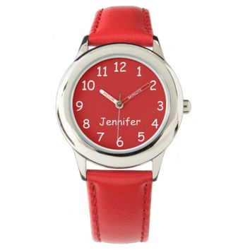 Red & White Kid's Watch, Red Strap Wrist Watch