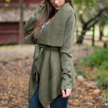 Suited Up And Ready Cardigan, Olive